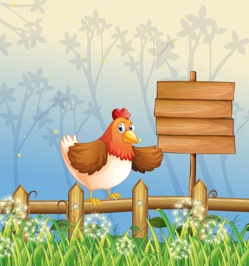 Download A Chicken Near A Signboard At The Woods Stock Vector - Illustration of grass, advertisement: 33098439