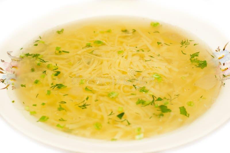 Chicken noodle soup - broth closeup