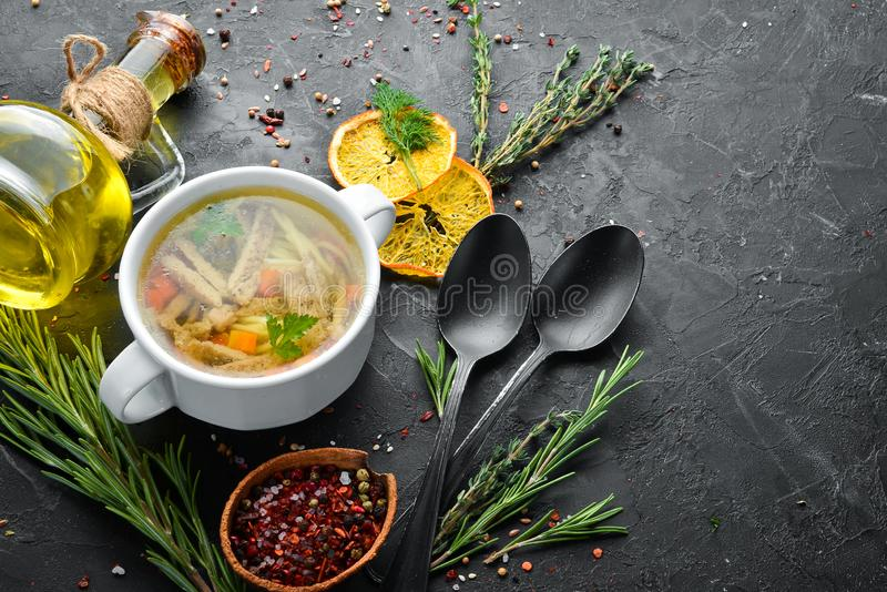 Chicken noodle soup. Dishes, food. Top view. Free space for your text royalty free stock photography