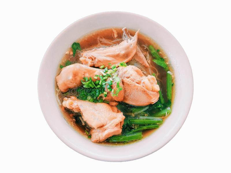 Chicken noodle soup with morning glory and spring onion in white cup Isolated white stock images