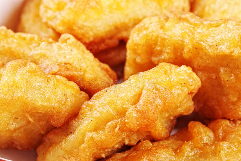 Chicken nuggets closeup royalty free stock photography
