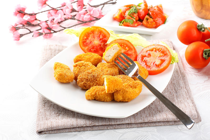 Download Chicken nuggets on dish stock image. Image of appetizer - 25599811