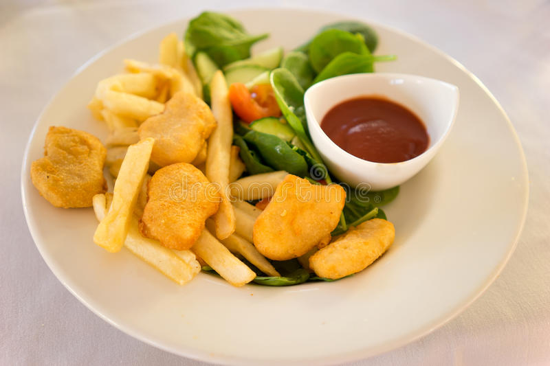 Chicken Nuggets And Fries Meal royalty free stock images