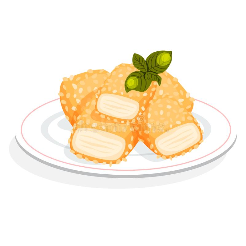 Chicken nuggets meal. Crispy snack with sauce stock illustration