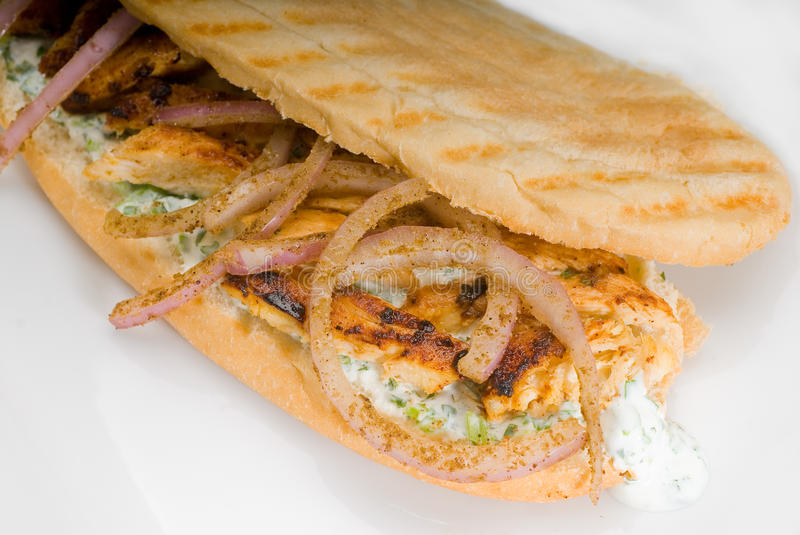 Chicken and onion grilled panini sandwich stock photo