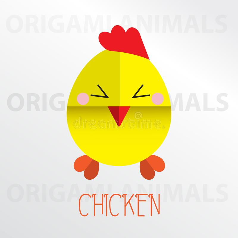 Chicken origami paper art illustration. Chicken cartoon mascot origami art illustration colorful animal origami art royalty free illustration