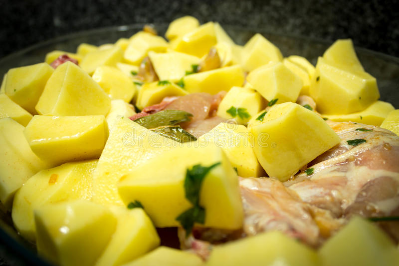 Download Chicken in the oven stock photo. Image of ready, potatoes - 34495136