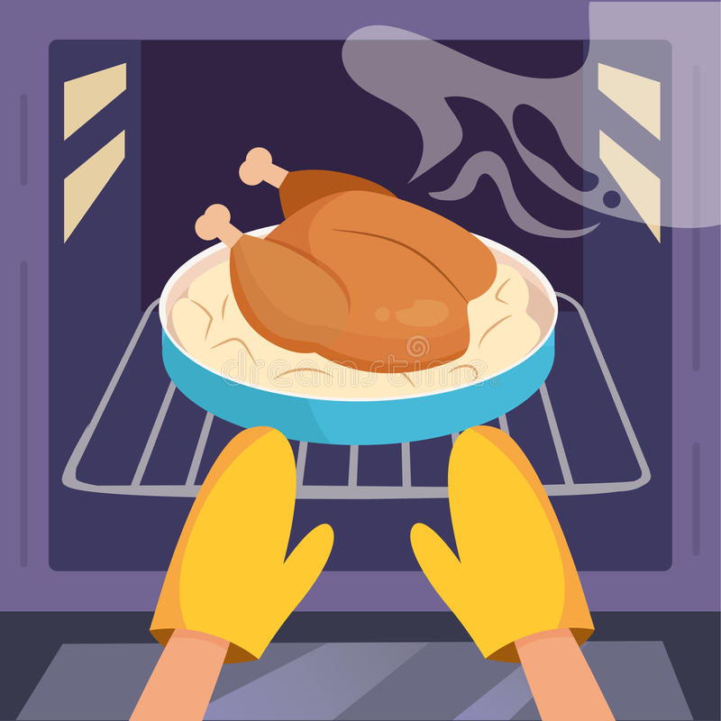 Chicken in oven. Vector vector illustration
