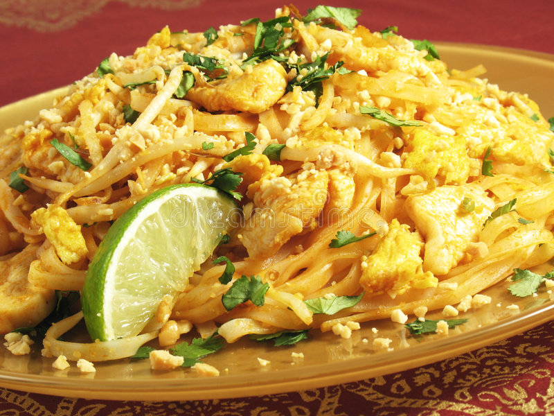 Download Chicken Pad Thai stock image. Image of nuts, stir, noodles - 4358295