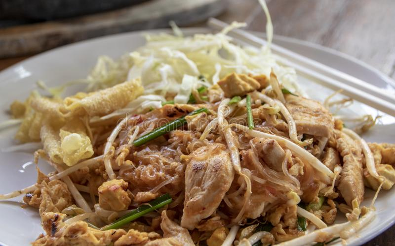 Chicken pad thai stock photo