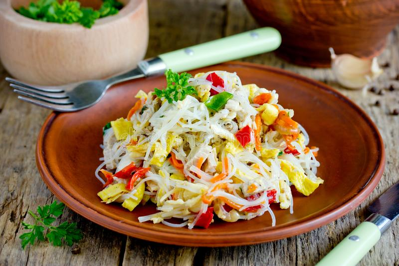 Chicken pad thai rice noodles with fried egg royalty free stock photo