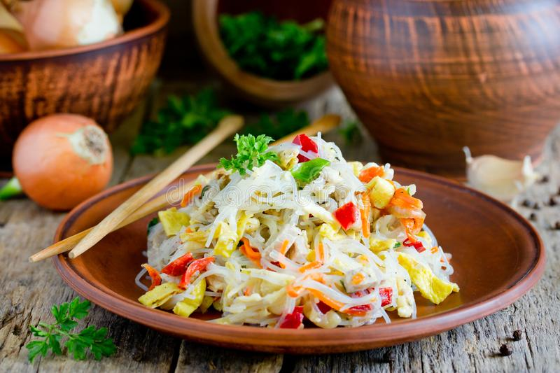 Chicken pad thai rice noodles with fried egg. Onion, carrot, pepper stock image