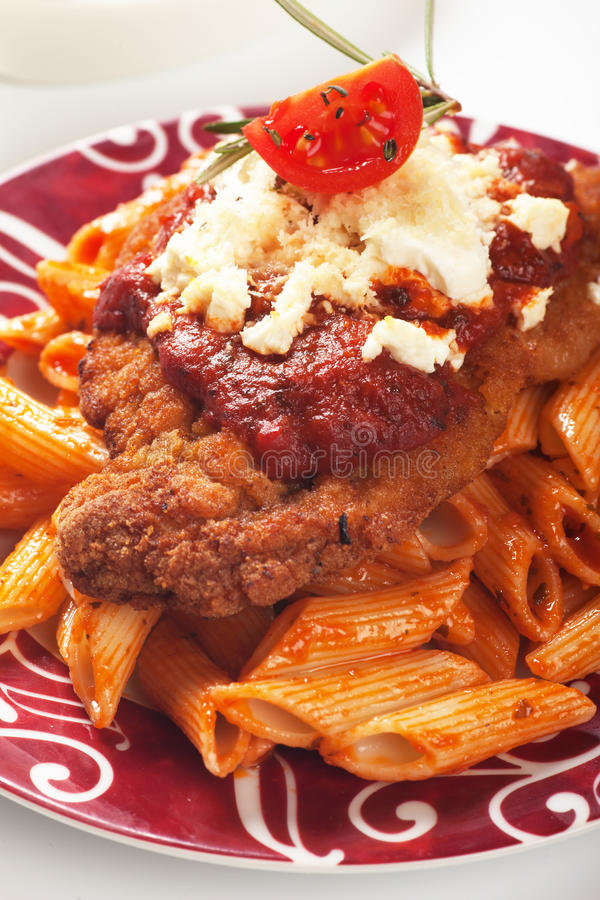 Download Chicken Parmesan With Macaroni Pasta Stock Image - Image: 31135579