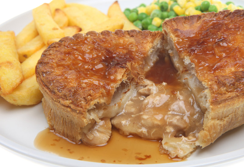 Chicken Pie & Chips royalty free stock images