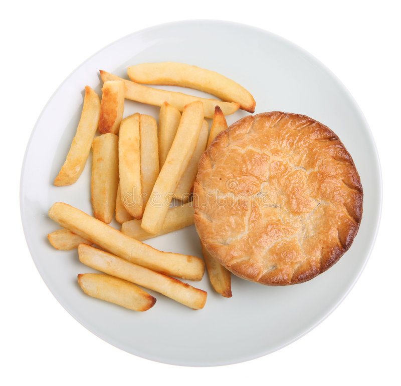 Chicken Pie & Chips stock image