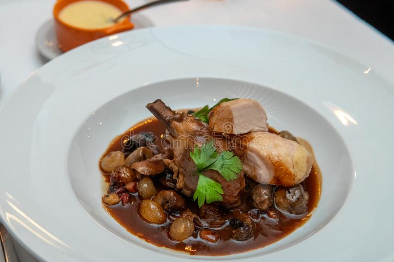 Chicken Pieces in Sauce. Chicken on bone stew with dried fruits and brown sauce, buenos, aires, dinner, food, french, cuisine, baked, braised, burgundy, carrot stock images