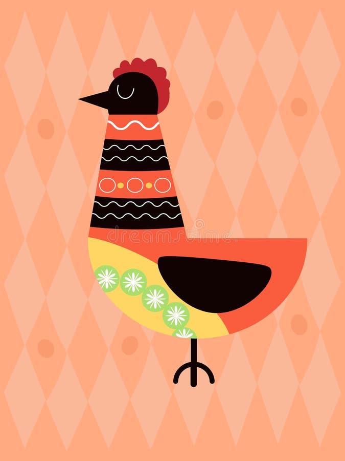 Chicken on pink background vector illustration