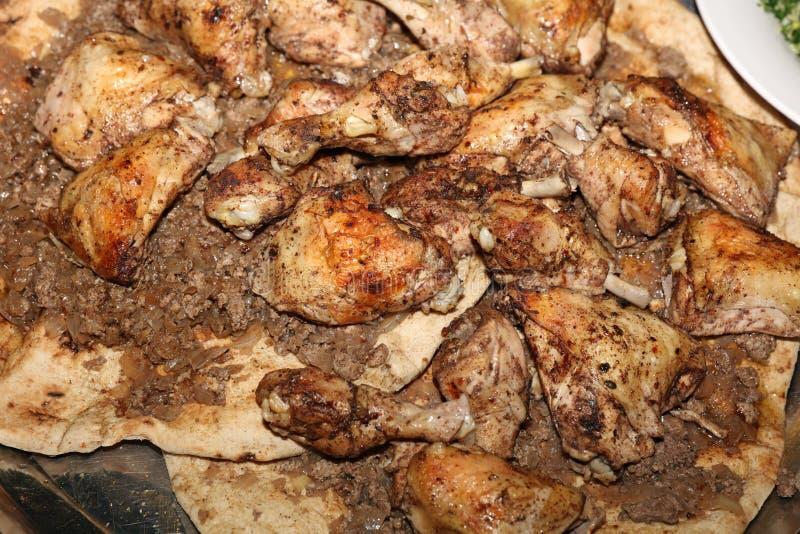 Chicken on Pita Bread stock photo