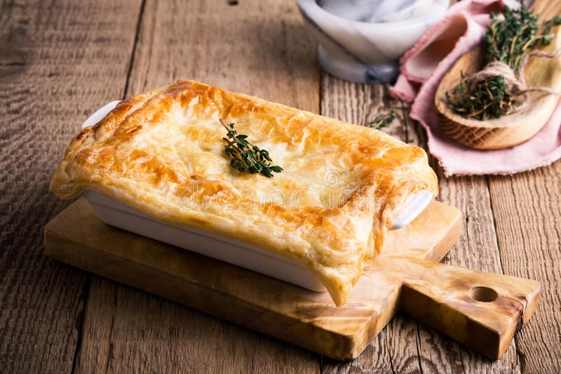 Chicken pot pie with vegetables. Traditional american meal royalty free stock image