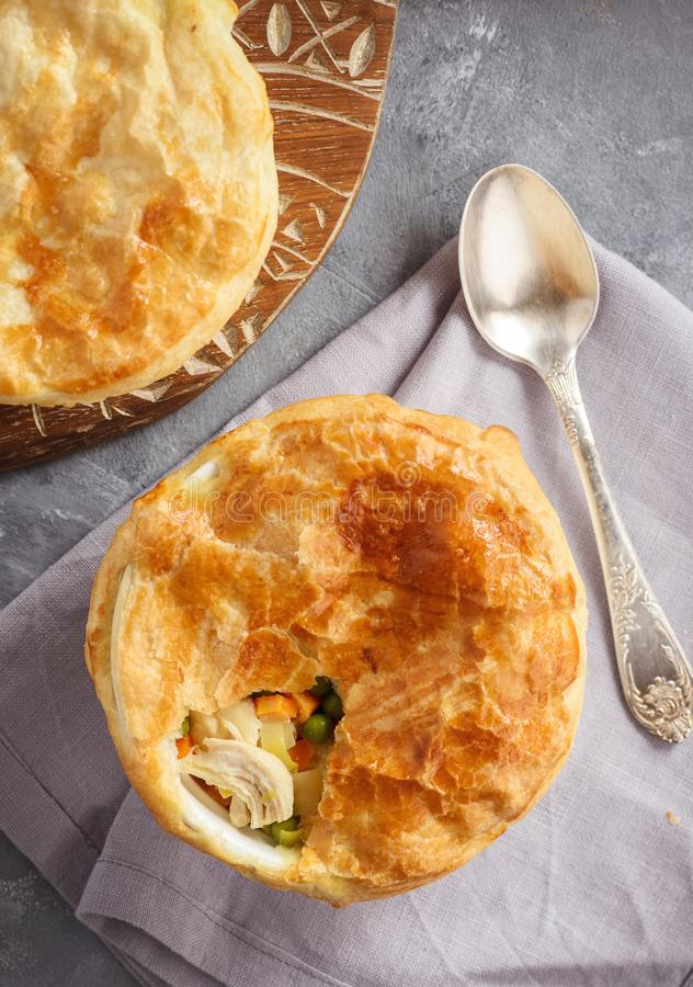 Free Chicken Pot Pie With Carrot, Grean Peas And Cheese. Stock Photos - 130599933