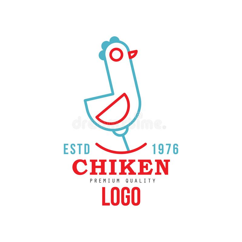 Chicken premium quality estd 1976 logo, retro badge for farm products food, packaging, shop, restaurant, grill vector. Illustration isolated on a white stock illustration