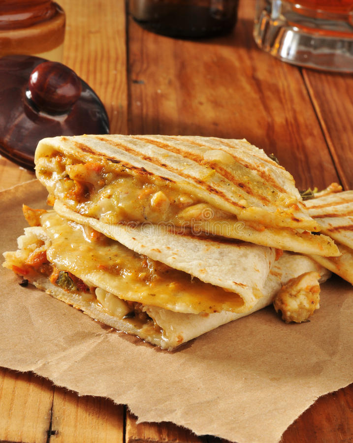 Chicken quesadillas royalty free stock images