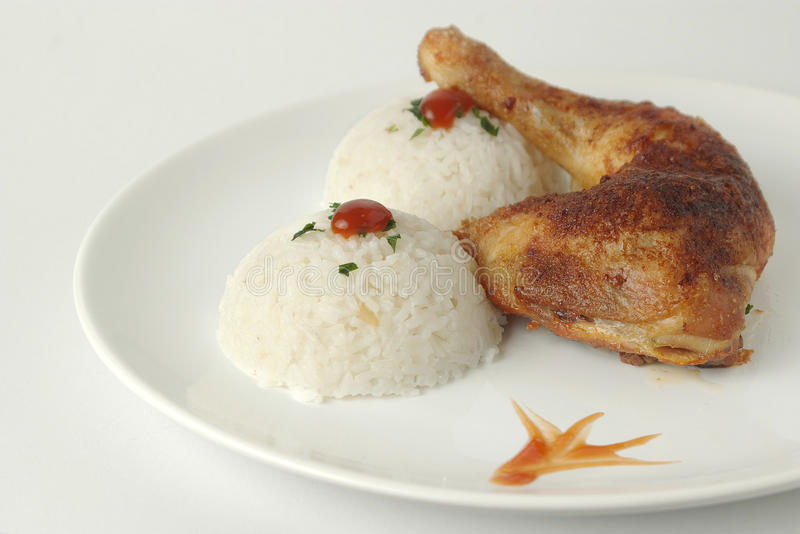 Chicken with rice royalty free stock photo