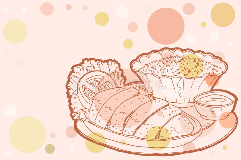 Download Chicken rice stock vector. Image of asian, bowl, dinner - 23782531