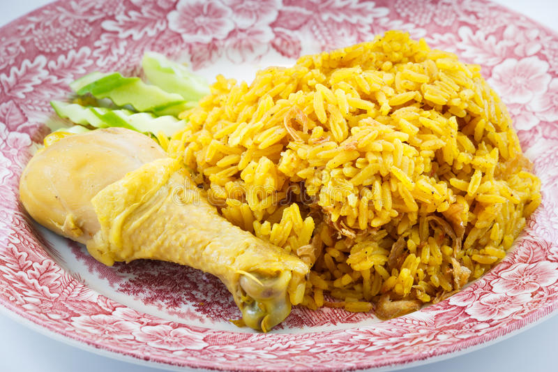 Chicken Rice Curry. With Coconut stock images