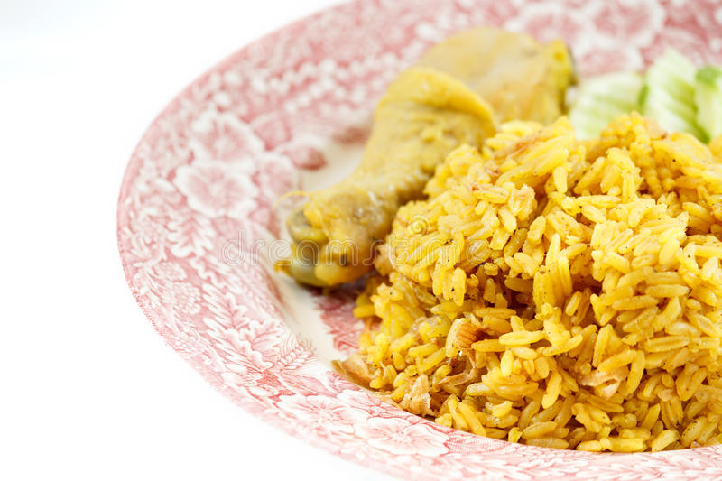 Chicken Rice Curry. With Coconut isolated on white background royalty free stock photography