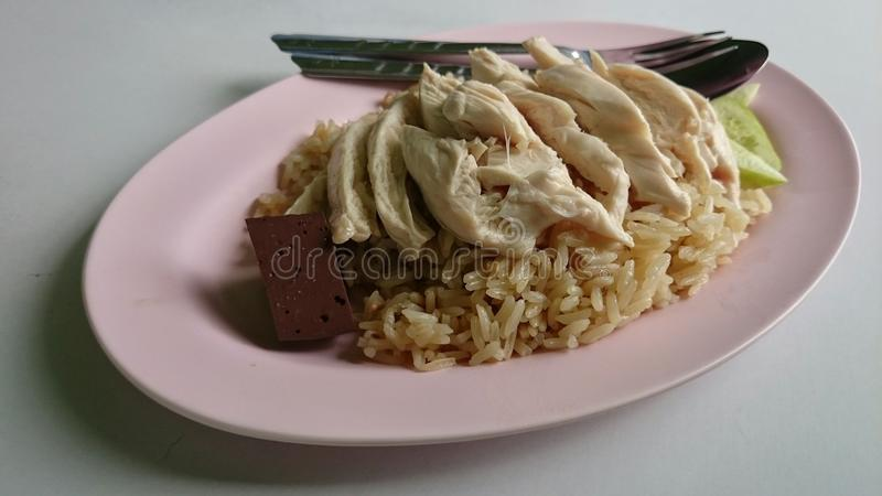 Chicken rice for lunch royalty free stock images