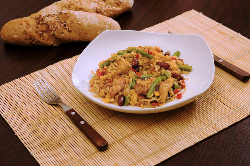 Chicken with Rice and Mexican Vegetables royalty free stock image