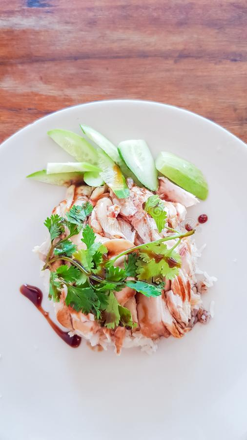 Chicken Rice in plate stock photo