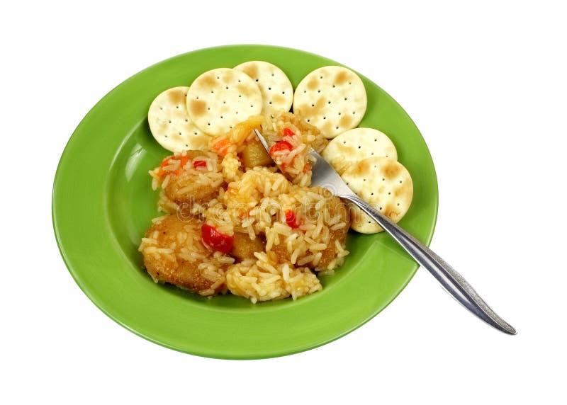 Chicken Rice Sweet Sour Sauce Fork