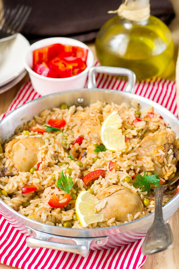 Chicken and rice with vegetables stock photos