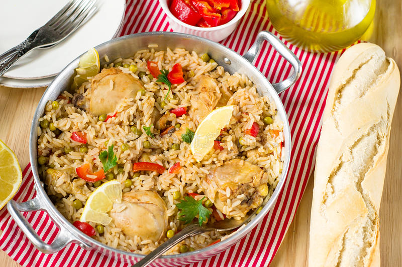 Chicken and rice with vegetables stock photo