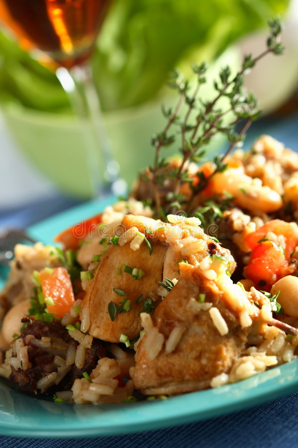 Chicken with rice and wine. Delicious oven chicken with rice and wine on the plate royalty free stock photography