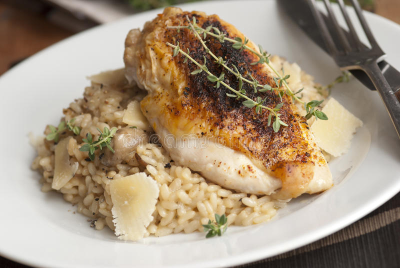 Chicken with risotto stock photos