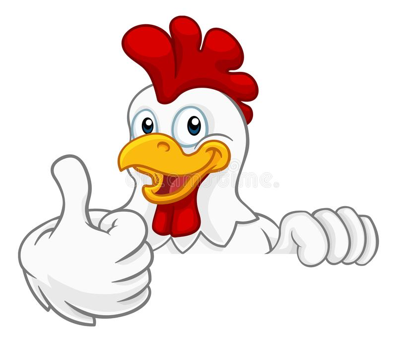 Chicken Rooster Cockerel Bird Cartoon Character. A chicken rooster cockerel bird cartoon character peeking over a sign and giving a thumbs up vector illustration