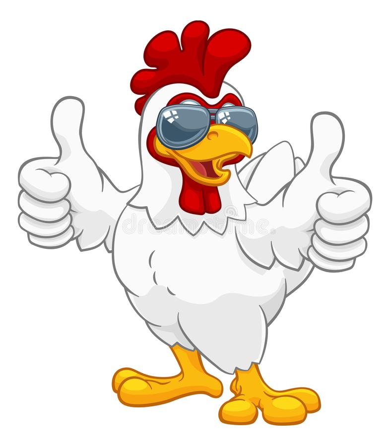 Chicken Rooster Cockerel Bird Sunglasses Cartoon. A chicken rooster cockerel bird cartoon character in cool shades or sunglasses giving a double thumbs up royalty free illustration