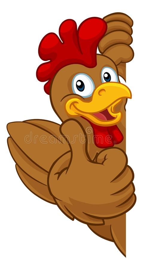Chicken Rooster Cockerel Bird Cartoon Character. A chicken rooster cockerel bird cartoon character peeking around a sign and giving a thumbs up stock illustration