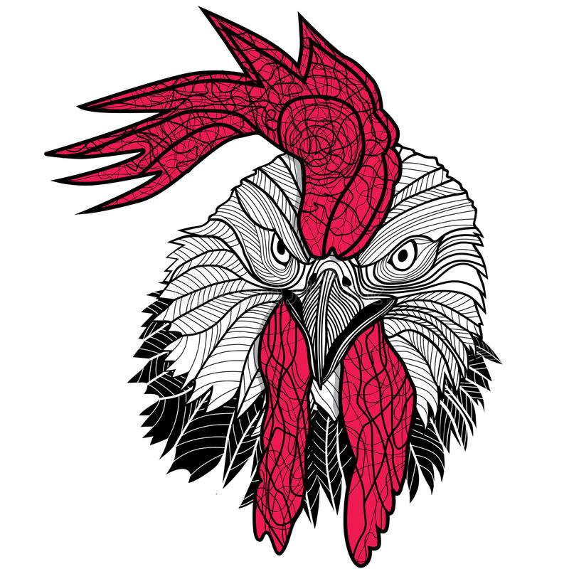 Chicken Rooster Head Design For T-shirts Isolated On White ...