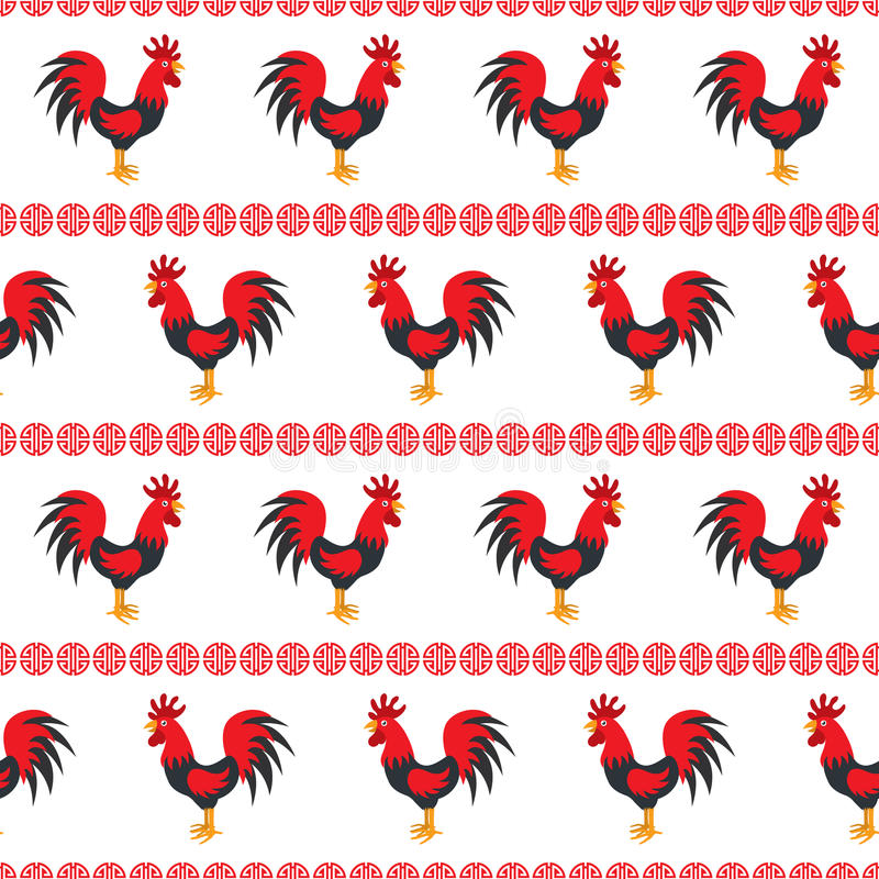 Chicken rooster seamless stock illustration