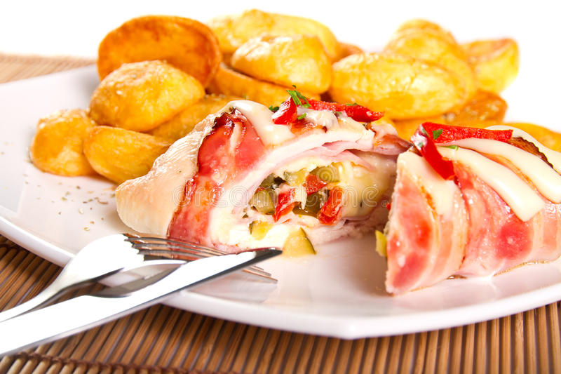 Download Chicken roulade stock photo. Image of cooking, bacon - 29068536