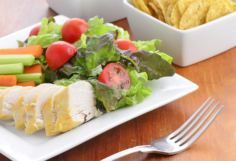 Download Chicken with salad stock image. Image of nutritious, crackers - 37984275
