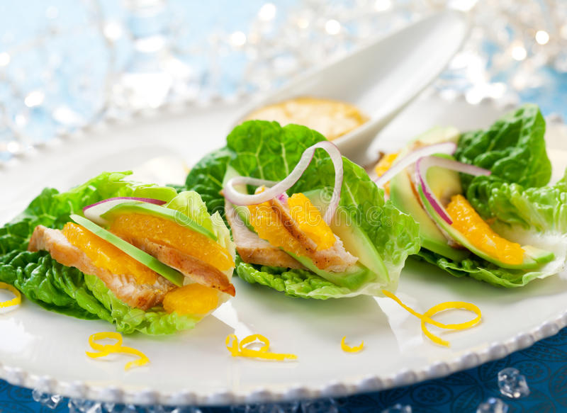 Download Chicken Salad On Lettuce Leaves Stock Photo - Image: 21797992