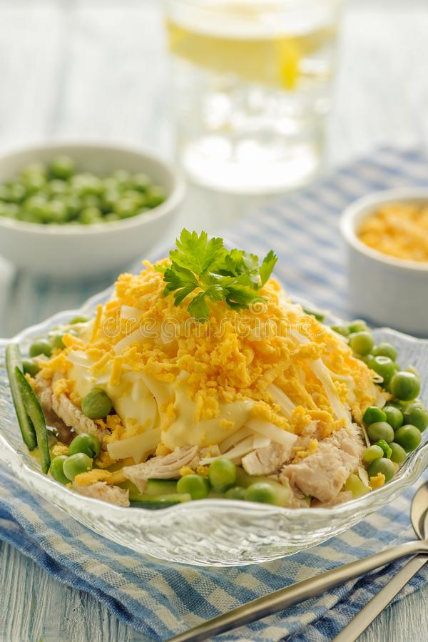 Chicken salad with mayonnaise. stock photo