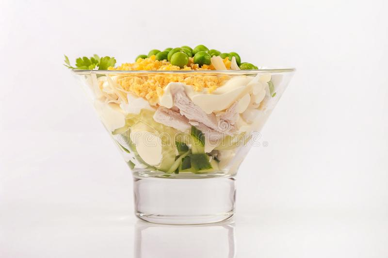 Chicken salad with mayonnaise. royalty free stock photography