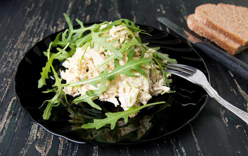 Chicken salad with rucola on a plate. Chicken salad with rucola plant on a plate stock image