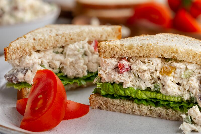 Chicken Salad Sandwich on Whole Wheat Bread royalty free stock photography